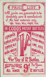 Advert for T Woods, mineral water manufacturer, reverse side
